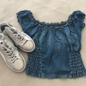 5 for $60 LF Dark Denim Crop Off The Shoulder Top